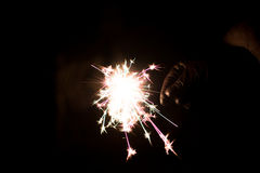 Pyrotechnic sparkler. Lighting equipment for New Year and Christmas. Royalty Free Stock Image