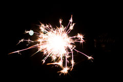 Pyrotechnic sparkler. Lighting equipment for New Year and Christmas. Royalty Free Stock Images