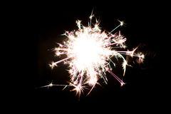 Pyrotechnic sparkler. Lighting equipment for New Year and Christmas. A sparkler is a type of hand-held firework equipment that burns slowly while emitting Stock Photography