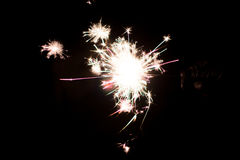 Pyrotechnic sparkler. Lighting equipment for New Year and Christmas. A sparkler is a type of hand-held firework equipment that burns slowly while emitting Stock Image