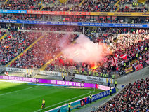 Pyrotechnics. Frankfurt, Germany, September 30, 2012: Bundesliga Match: Eintracht Frankfurt vs SC Freiburg. Freiburg supporters rioting with pyrotechnics stock photos