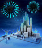 Pyrotechnics above futuristic windmill powered city. Illustration Stock Photography