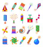 Pyrotechnics burning firework colored icons. Festival firecrackers and sparklers, crackers  petards  on white background. Pyrotechnics burning firework colored Stock Photos