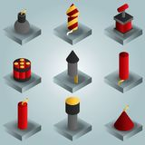Pyrotechnics color gradient isometric icons. Vector illustration, EPS 10 Stock Photo