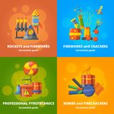 Pyrotechnics elements for party. Vector banners set. Firecracker and pyrotechnic fireworks colourful illustration Stock Photo