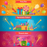Pyrotechnics Festival Flat Banners. Horizontal flat pyrotechnics festival  banners with colorful crackers and balloons for firework show vector illustration Royalty Free Stock Photography