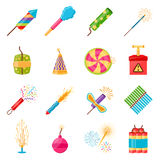 Pyrotechnics Festival Flat Icons Set. With colorful firework crackers of different shape  on white background vector illustration Stock Photo