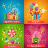 Pyrotechnics Festival Flat 2x2 Icons Set Stock Image