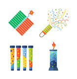 Pyrotechnics and fireworks  icon. Pyrotechnic rockets  illustration pyrotechnics and firework fountain, roman candle, beautiful rocket. Anniversary traditional Royalty Free Stock Image
