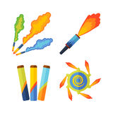 Pyrotechnics and fireworks  icon. Pyrotechnic rockets  illustration pyrotechnics and firework fountain, roman candle, beautiful rocket. Anniversary traditional Royalty Free Stock Photos