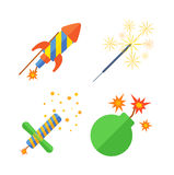 Pyrotechnics and fireworks  icon. Pyrotechnic rockets  illustration pyrotechnics and firework fountain, roman candle, beautiful rocket. Anniversary traditional Stock Photos