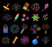 Pyrotechnics and fireworks vector illustration, petards fire crackers signs Royalty Free Stock Photo