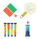 Pyrotechnics and fireworks vector. Royalty Free Stock Photo