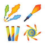 Pyrotechnics and fireworks vector. Stock Photography
