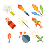 Pyrotechnics and fireworks vector. Royalty Free Stock Photography