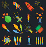 Pyrotechnics and fireworks vector. Royalty Free Stock Image