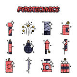 Pyrotechnics flat icons set. On white background. Vector illustration, EPS 10 Royalty Free Stock Photos
