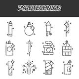 Pyrotechnics flat icons set. On white background. Vector illustration, EPS 10 Royalty Free Stock Images