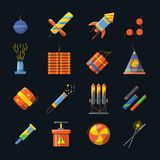Pyrotechnics for holidays and different tools for fire show. Vector icons set in flat style. Pyrotechnics for holidays and different tools for fire show. Vector Stock Image
