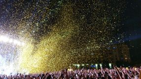 Pyrotechnics at rock concert. Pyrotechnics at outdoor rock concert royalty free stock photography