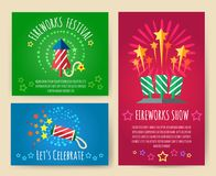 Pyrotechnics show posters. Fireworks, crackers and explosion effects party retro placards vector illustration Stock Photo