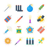 Pyrotechnics vector set of icons in a flat style. Festival petards, fireworks, crackers, sparklers on a white background. Holiday pyrotechnic explosions and Stock Photo