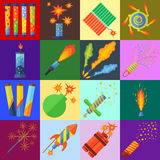 Pyrotechniek en vuurwerkvector Royalty-vrije Stock Afbeeldingen