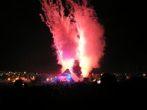 Pyroteknik 2007 för huvudsaklig etapp för Glastonbury festival Arkivfoton