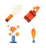 Pyroteknik- och fyrverkerisymbol Royaltyfri Illustrationer