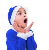 Pys i den blåa Santa Claus dräkten Arkivfoto