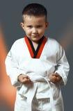 Pys i en kimono, Taekwondo, sport som tonar Arkivfoton