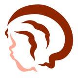 Pys med brunt hår, huvud, kontur, frisyr, profil royaltyfri illustrationer