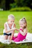 Pys och flicka med nyckelpigan i park royaltyfri bild