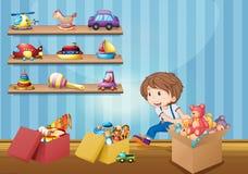 Pys och många leksaker stock illustrationer