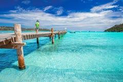 Pys på bron på den Santa Giulia stranden, Korsika, Frankrike Royaltyfri Bild