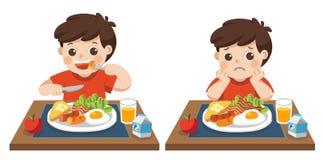Pys som är lycklig och olyckligt att äta frukosten stock illustrationer