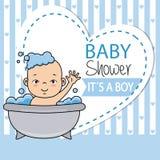 Pys som badar i badkaret royaltyfri illustrationer