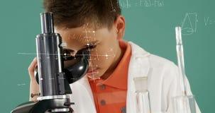 Pys som ser in i ett mikroskop 4k stock video