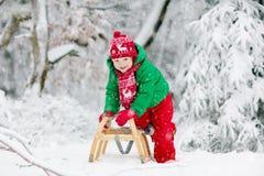 Pys som tycker om en släderitt Sledding för barn Litet barnunge som rider en pulka Barnlek utomhus i snö Ungesläde i royaltyfria bilder