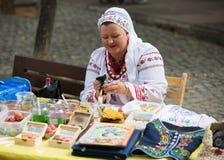 Pysanka销售天乌克兰文化在巴塞罗那 库存图片