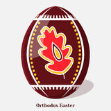 Pysanka. Easter egg with a Ukrainian folk ornament. Holiday background, greeting card, poster or placard template in cartoon style. Pysanka. Easter egg with a Stock Image