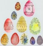 11 pysanka. Eleven Easter eggs of different sizes with ornament Stock Images