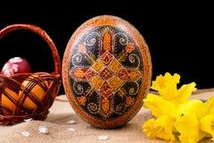 Pysanka, huevos pintados en busket y narcisos de la primavera Huevos de Pascua en fondo negro Concepto del día de fiesta Pascua é Foto de archivo