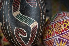 Pysanka is a Ukrainian Easter Egg decorated with traditional Ukrainian folk designs using a wax-resist method. royalty free stock photography