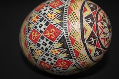 Pysanka is a Ukrainian Easter Egg decorated with traditional Ukrainian folk designs using a wax-resist method. royalty free stock photo