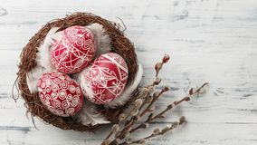 Pysanky, decorated Easter eggs in the nest. Pussy willow branches and feathers on white wooden background, wide format, top view, copy space Royalty Free Stock Photo