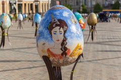 Pysanky festival. Kyiv, Ukraine, Sophia Square, 2 of May 2016. Pysanky festival. A great image of a woman on the big  painted egg on the Pysanky festival close Royalty Free Stock Images