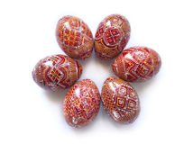 Pysanky - Ukrainian handmade painted Easter eggs. On white background Royalty Free Stock Images