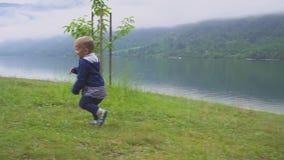 Pysen går nära bergsjön Köra och stoja i natur långsam rörelse arkivfilmer