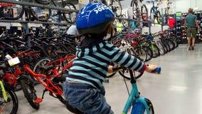 Pysen i en cykel shoppar Arkivbild